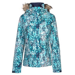 Roxy Jet Ski w/Faux Fur Womens Insulated Snowboard Jacket, Aruba Blue-Kaleidos Flowers, 256
