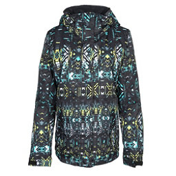 Roxy Jetty Womens Insulated Snowboard Jacket, True Black-Haveli Ikat, 256