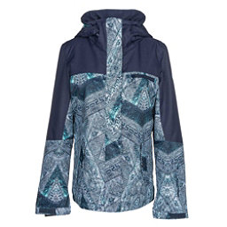 Roxy Jetty Block Womens Insulated Snowboard Jacket, Peacoat-Avoya, 256