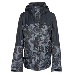 Roxy Jetty Block Womens Insulated Snowboard Jacket, True Black-Floral Herringbone, 256