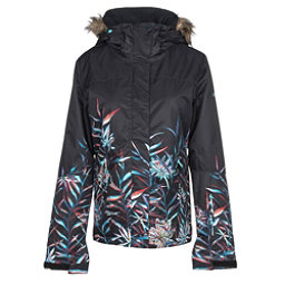 Roxy Jet Ski SE w/Faux Fur Womens Insulated Snowboard Jacket, True Black-Garden Party, 256