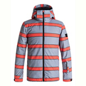Quiksilver Mission Printed Boys Snowboard Jacket, Mandarin Red Double Striped, medium