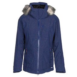 Salomon Weekend + w/ Faux Fur Womens Insulated Ski Jacket, Medieval Blue Heather, 256