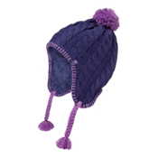 The North Face Fuzzy Earflap Beanie Kids Hat, Bright Navy-Bellflower Purple, medium