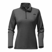 The North Face Tech Glacier 1/4 Zip Womens Mid Layer, TNF Dark Grey Heather-TNF Blac, medium