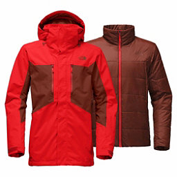 The North Face Clement Triclimate Mens Insulated Ski Jacket, Centennial Red-Brandy Brown, 256