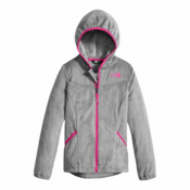 The North Face Oso Hoodie Girls Jacket, Metallic Silver, medium