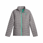 The North Face ThermoBall Full Zip Kids Midlayer, Metallic Silver, medium
