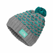 The North Face Chunky Pom Beanie Kids Hat, Metallic Silver-Bermuda Green, medium