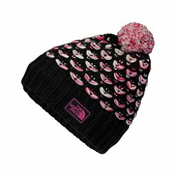 The North Face Chunky Pom Beanie Kids Hat, TNF Black-Petticoat Pink Space, 256