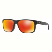 Oakley Holbrook PRIZM Polarized Sunglasses, Matte Black-Prizm Ruby, medium