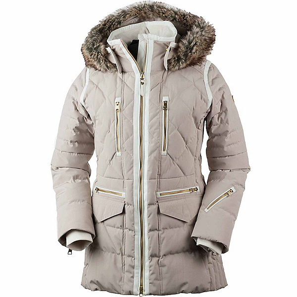 Obermeyer Blythe Down w/Faux Fur Womens Insulated Ski Jacket, Cashmere, 600
