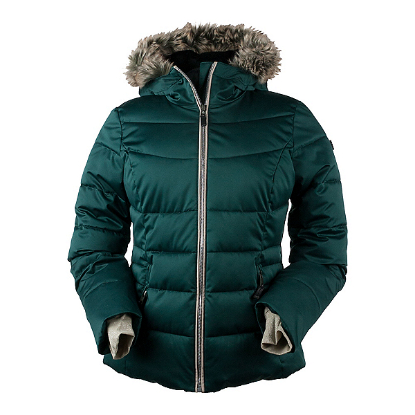 Obermeyer Bombshell Petite w/Faux Fur Womens Insulated Ski Jacket, Glamp Green, 600