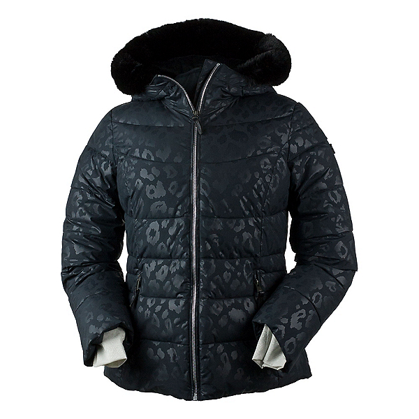 Obermeyer Bombshell w/Faux Fur Womens Insulated Ski Jacket, Dark Leopard, 600