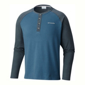 Columbia Ward River Henley Mens Mid Layer, Blue Heron-Mystery, medium