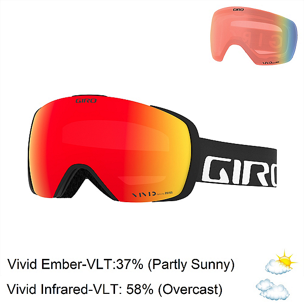 Giro Contact Goggles 2018, Black Wordmark-Vivid Ember + Bonus Lens, 600