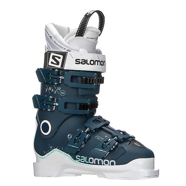 Salomon X-Max 90 W Womens Ski Boots 2018, Petrol Blue-White-Light Green, 600