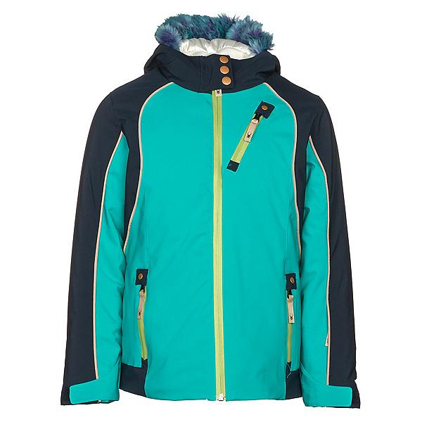 Spyder Posh Faux Fur Girls Ski Jacket, Baltic-Frontier, 600