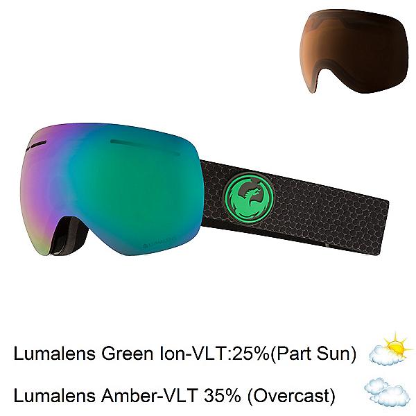 Dragon X1 S Goggles 2018, Split-Lumalens Green Ion + Bonus Lens, 600