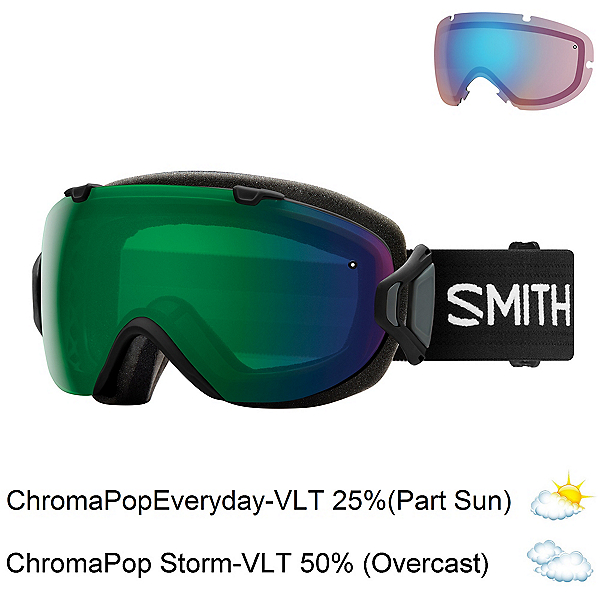 Smith I/OS Womens Goggles 2018, Black-Chromapop Everyday Green + Bonus Lens, 600