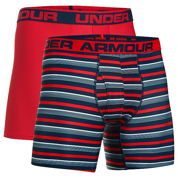 Under Armour Original 6in Novelty 2 Pack Mens Long Underwear Pants, Academy-Red, 600