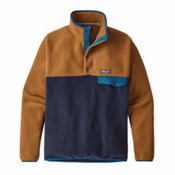 Patagonia Lightweight Synchilla Snap-T Mens Mid Layer, Navy Blue-Bear Brown, medium