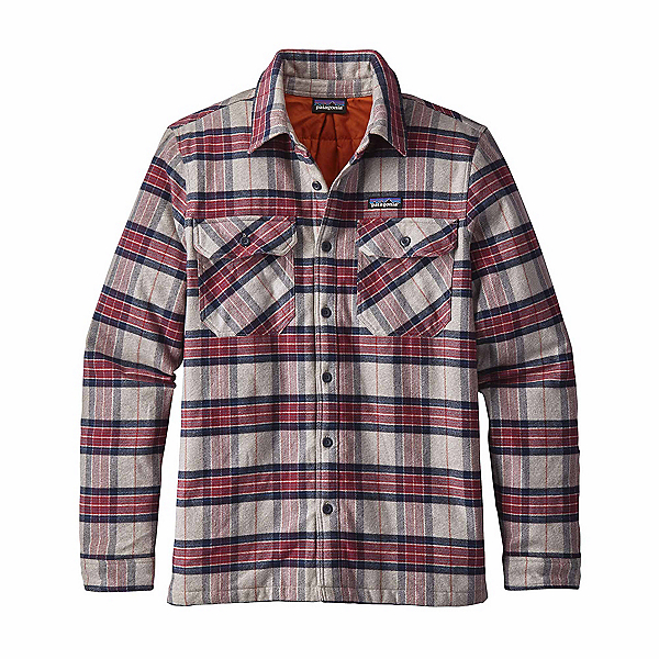 Patagonia Insulated Fjord Flannel Mens Jacket, Migration Plaid-Drumfire Red, 600