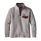 Patagonia Cotton Quilt Snap-T Womens Mid Layer, Drifter Grey-Dark Ruby, medium