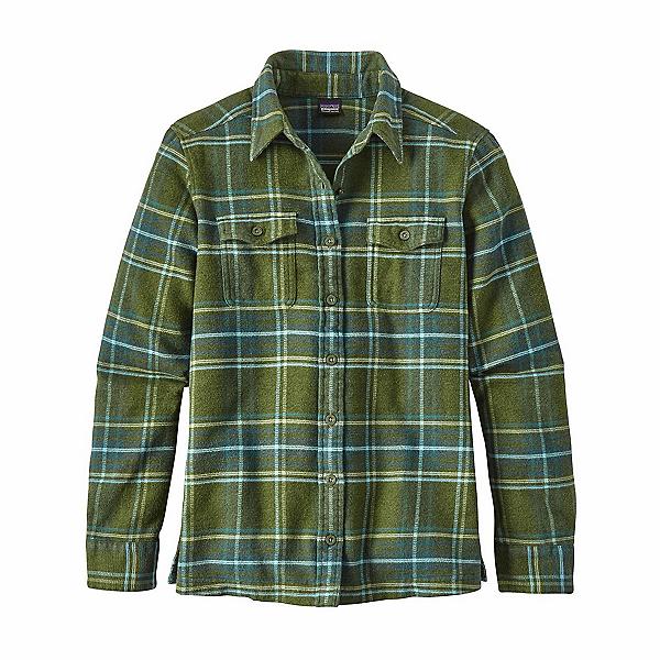 Patagonia Long Sleeved Fjord Womens Flannel Shirt, Big Sky Plaid-Buffalo Green, 600