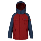 Burton Fray Boys Snowboard Jacket, Fired Brick-Mood Indigo, medium