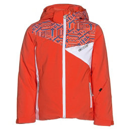 Spyder Project Girls Ski Jacket, Burst-Coral Geo Print-White, 256