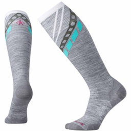 SmartWool PhD Ski Ultra-Light Pattern Womens Ski Socks, Light Gray, 256
