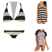 Hurley Tomboy Stripe Halter Bathing Suit Top & Hurley One and Only Aussie Bottom Bathing Suit Set, , medium