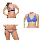 Oakley Core Solids Racerback Sports Bra Bathing Suit Top & Oakley Pacific Stripe Tunnel Bottom Bathing Suit Set, , medium