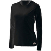 Hot Chillys PeachSkin Crewneck Womens Long Underwear Top, Black, medium