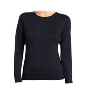 Hot Chillys Chamois Crew Neck Womens Long Underwear Top, Black, medium
