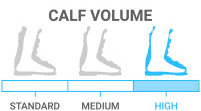 Calf Volume: High - accommodates shorter, thicker leg or fuller leg shape