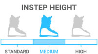 Instep Height: Medium - instep circumference approx. 1/3-1/2 length of foot