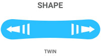 Shape: Twin - symmetrical allowing rider to ride regular or switch