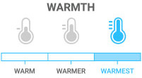 Warmth: Warmest - offers a medium to heavy amount of insulation