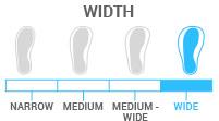 Width: Wide - boot width of 104-106mm; beginner to expert skier