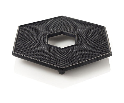 Black Hexagon Cast Iron Trivet