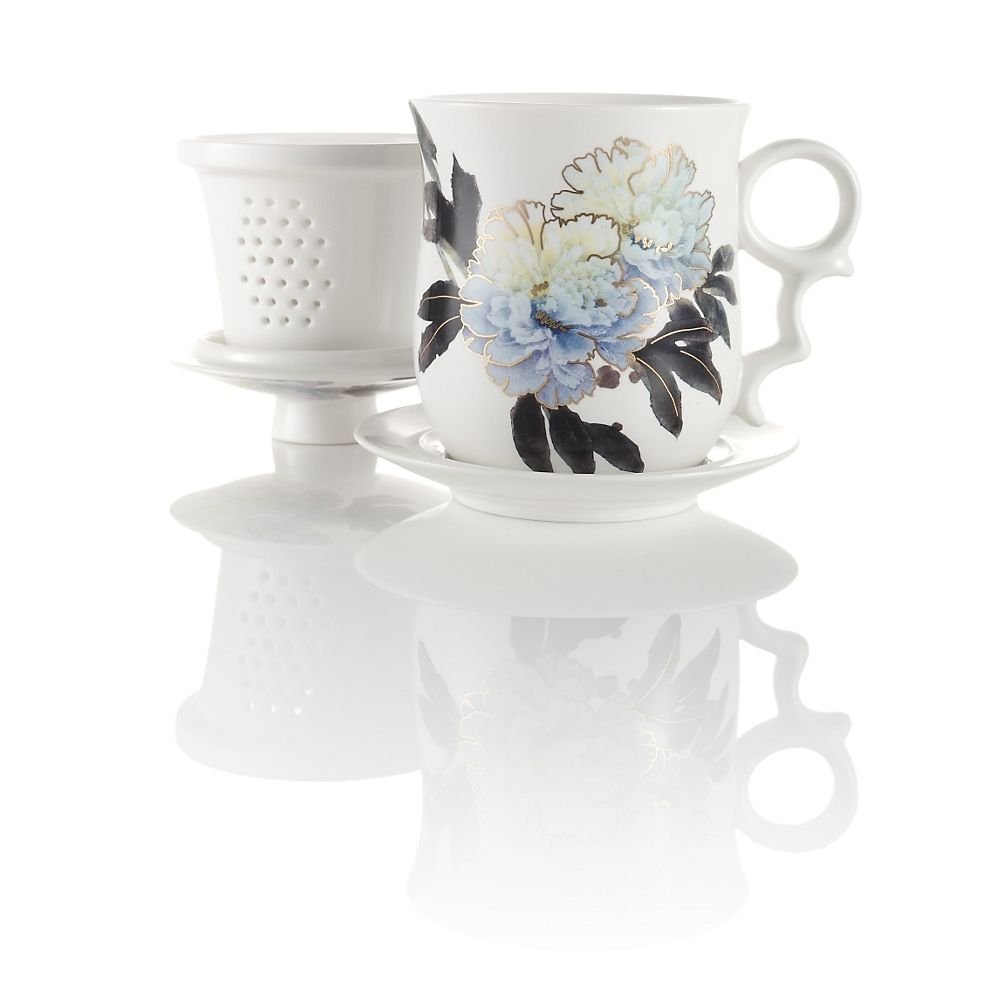 Blue Peony Infuser Tea Mug