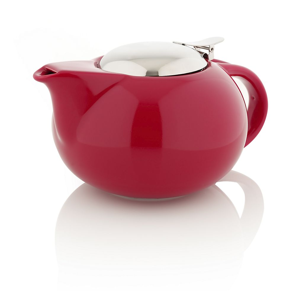 Porcelain Teapot with Stainless Steel Lid, red