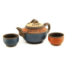 Tricolor Yixing Teapot Set with two cups