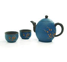 Blue Oval Blossom Yixing Tea Set