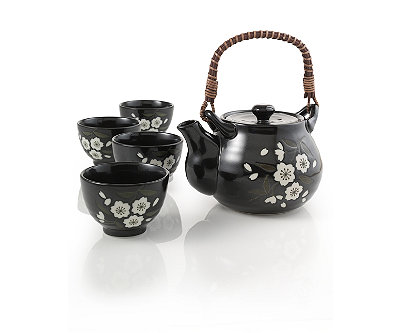 Yoshino Black Floral Teapot Set