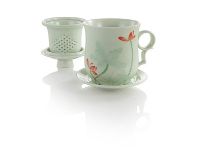 Green Embossed Lotus Infuser Mug