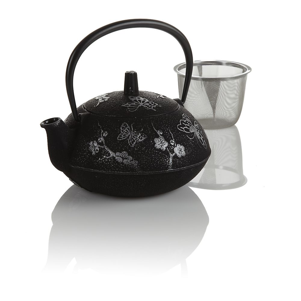 Black Butterfly Cast Iron Teapot
