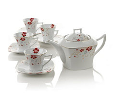 Red Bloom Teapot Set